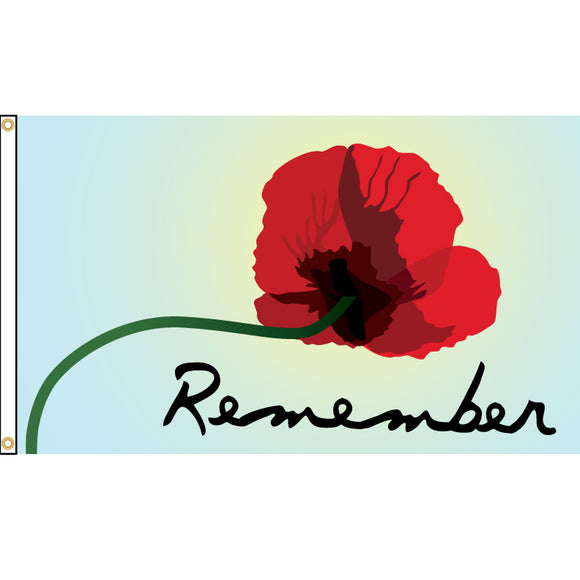 Remember flag with poppy design.