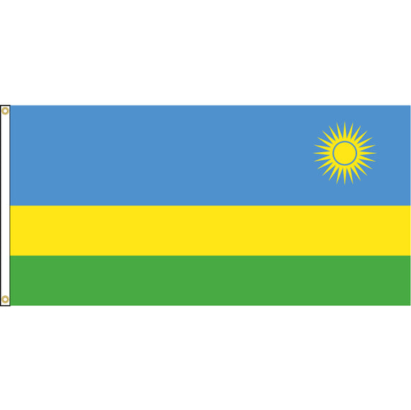 Rwanda Flag with header and grommets.