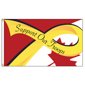 Flags Unlimited's own Support Our Troops design with yellow ribbon and maple leaf.