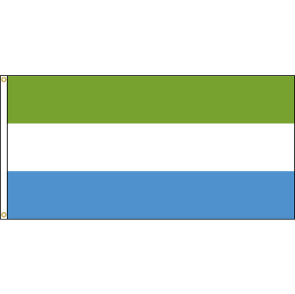 Sierra Leone Flag with header and grommets.