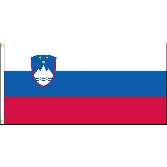 Slovenia Flag with header and grommets.