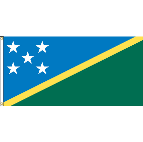 Solomon Islands Flag with header and grommets.