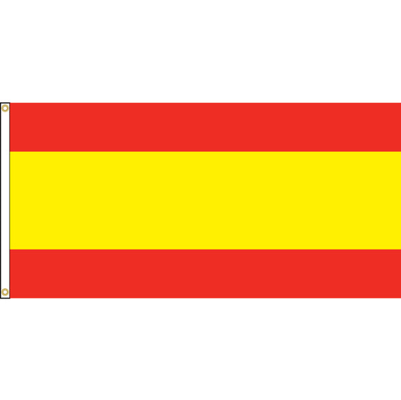 Spain Flag with header and grommets. No crest.