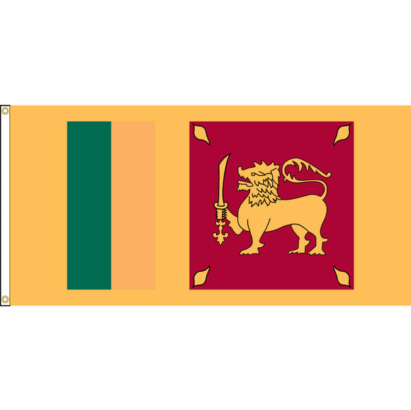 Sri Lanka Flag with header and grommets.