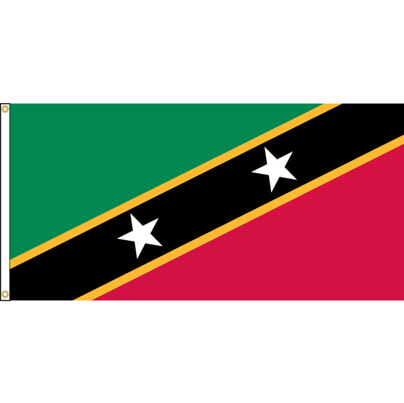 St. Kitts-Nevis Flag with header and grommets.