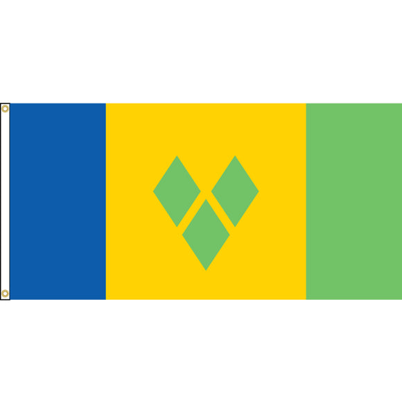 St. Vincent and Grenadines Flag with header and grommets.