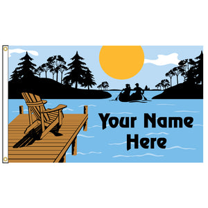 Flag featuring an illustration of a chair on a dock. Add your name to personalize it.