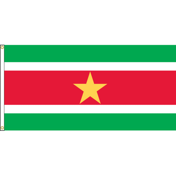 Suriname Flag with header and grommets.