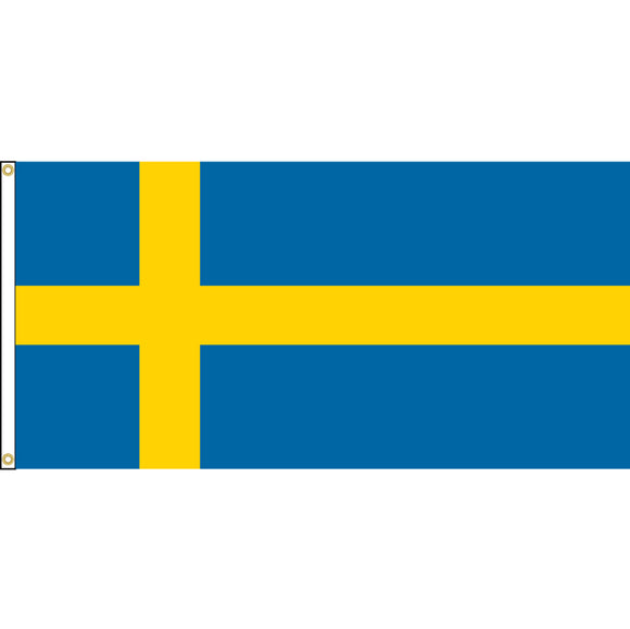 Sweden Flag with header and grommets.