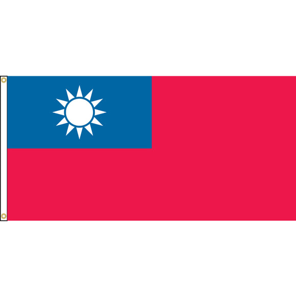 Taiwan Flag with header and grommets.