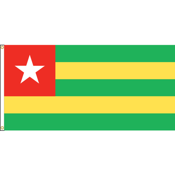 Togo Flag with header and grommets.