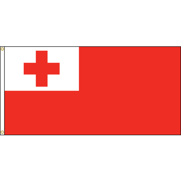 Tonga Flag with header and grommets.