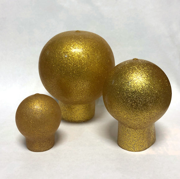 Gold vinyl ball top for outdoor flagpoles.