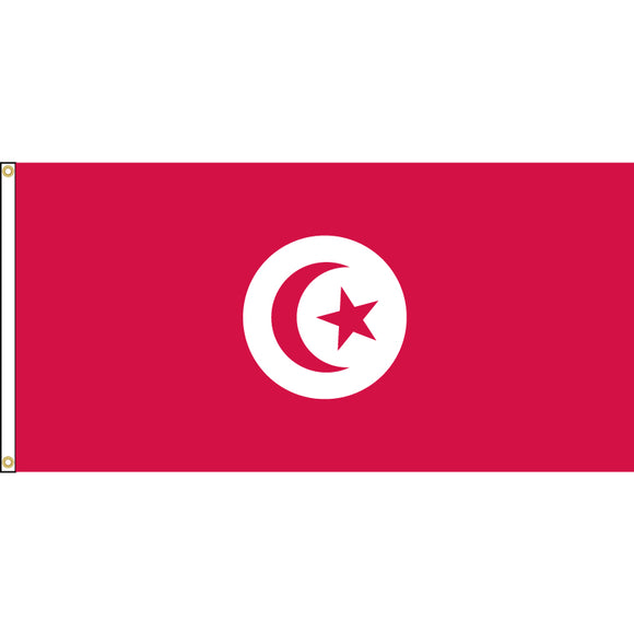 Tunisia Flag with header and grommets.