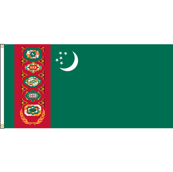 Turkmenistan Flag with header and grommets.