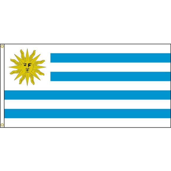 Uruguay Flag with header and grommets.