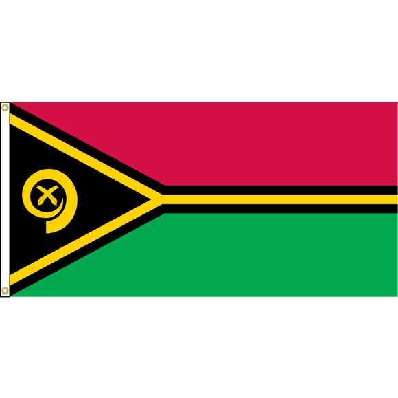 Vanuatu Flag with header and grommets.