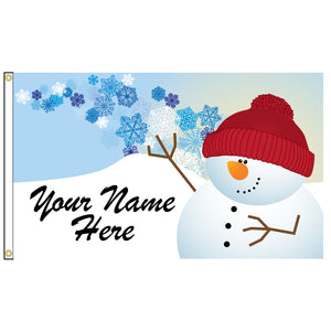 Personalize this cute snowman flag.
