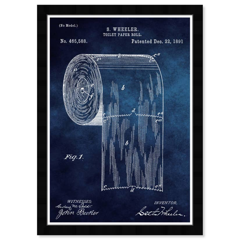 Toilet Paper Roll 1891 Blue Chalkboard Framed Art