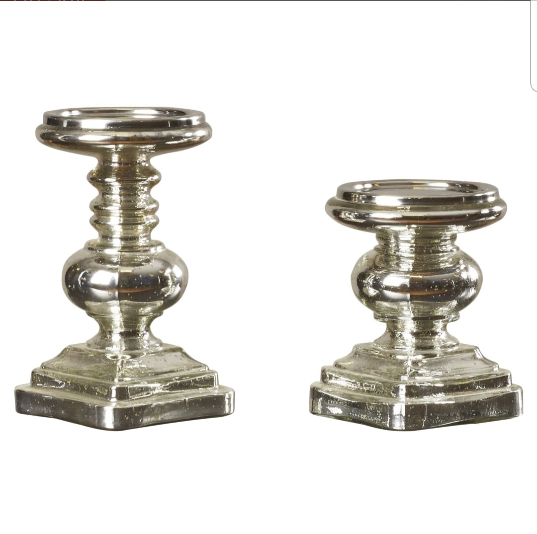 2-piece Glass Candlestick Set