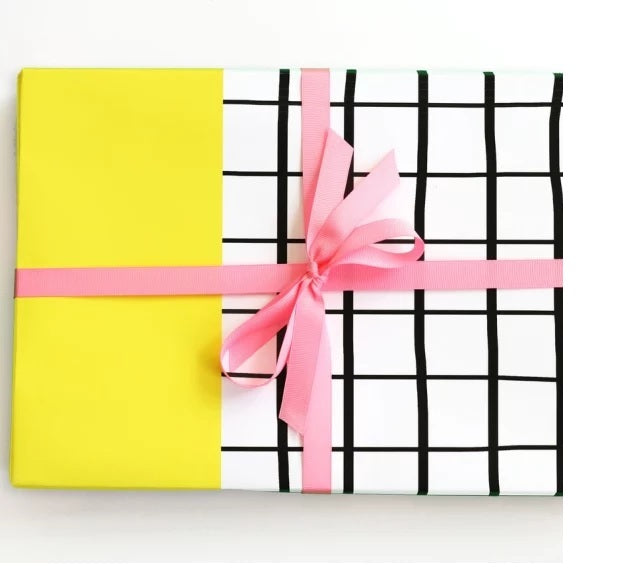 Color Block Grid Gift Wrap