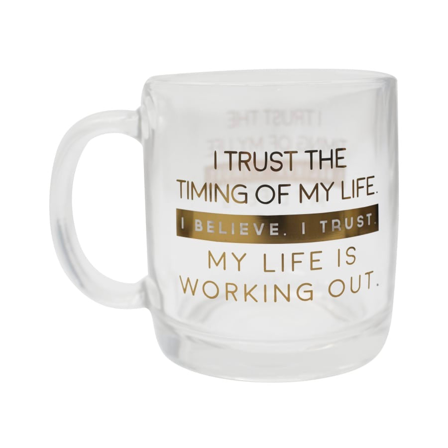 Trust the Timing Glass Mug
