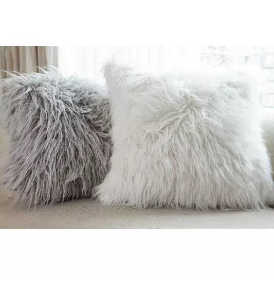 Ivory Mongolian Fur Pillow