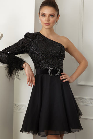 This is an image of the Holly dress, it is a Black Mini Dress with an A-line silhouette. It has a full Tulle skirt and on top the bodice is covered in sequins with a single sleeve. The sleeve is finished at the cuff with black feathers. It comes with a removable diamond embellished waist belt