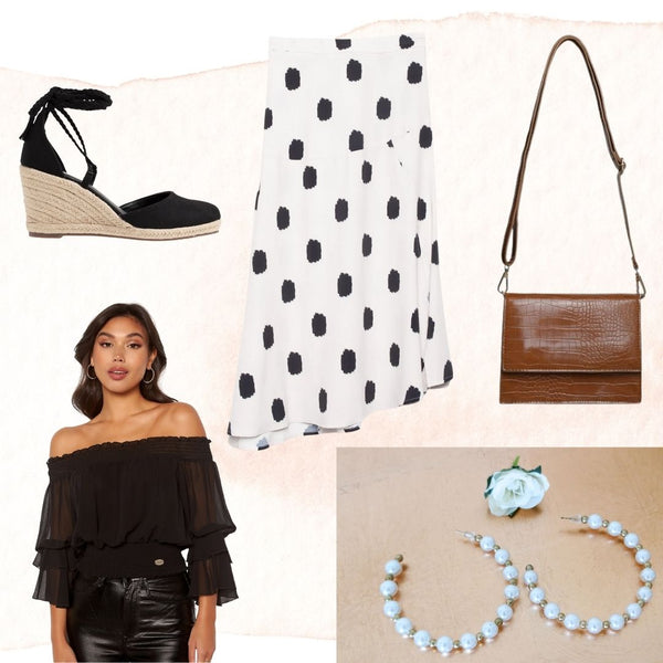 This is an Outfit Collage of our Melanie Spotted Midi Skirt in Cream with Black Spots Styled with our Madia Off the Shoulder Frill Sleeve Blouse in Black, Our Pearl Hoop Earrings, the Indie Handbag in Brown and Espadrille Shoes