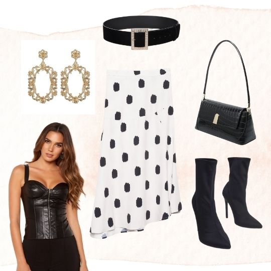 This is an outfit collage image of our Melanie Spotted Midi Skirt, Our Gloria Faux Leather Zip Up Bustier in Black, our Gabriella Handbag in Black, our Rose gold baroque style earrings and our thick black Buckle Belt
