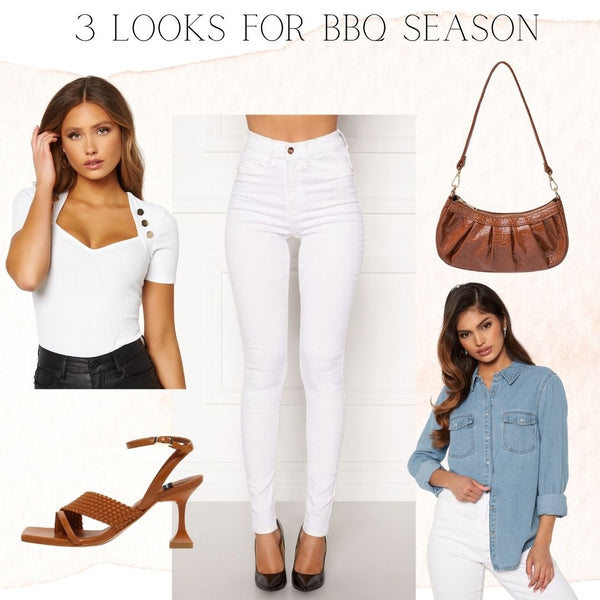 It's no Secret that White Jeans are the Ultimate Summer Staple and an Excellent replacement for Black at this time of year. We've Opted for an All White Look with our Beverly Jeans and our Venetia Ribbed T Shirt. We have broken the look up with some Tan Accessories to add a little Colour. For these Balmy Summer Evenings it's nice to have a Cardigan or Over-shirt to throw on so we have chosen our Beatrice Denim Shirt which can be worn Open over the Outfit.