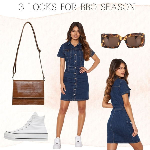 Our Odina Denim Mini Dress is a real Statement Piece and requires minimal Styling thanks to all the Buttons Details and Pockets. This dress is ideal for those Ladies who love to Keep it Casual and Comfortable, it is made of a Stretchy Denim Fabric. The Mini Length makes it ideal for Styling with Flat White Runners or Sandals but it can also be dressed up with a Heel or Espadrille. We have added our Indie Handbag in Tan as it is Simple, Timeless and fits all of the Basics.