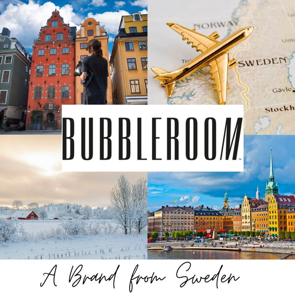 This is an image of the bubbleroom logo over a collage of pictures of Sweden