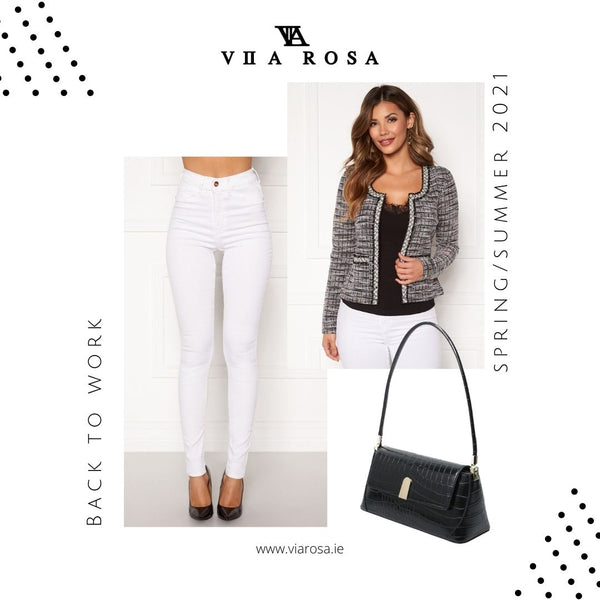 This is an image of our Beverly high Waist White Skinny jeans styled with our Loren Classic Blazer and our Gabriella Black 90s Style handbag