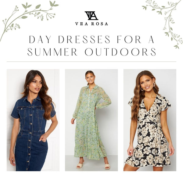 This is an image of three day dresses from our new summer collection. The Odina Dark Blue denim mini Dress, the Elsie Green Floral Print Tiered Maxi Dress and the Sonnet Floral Print Mini Wrap Dress