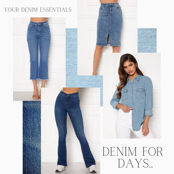 This is a Collage of some of our New Denim Pieces. The Kyla Cropped Kick Flare Jeans, The Elisa Denim Midi Skirt, The Beatrice Denim Shirt and the Tove Denim Flared Jeans in Medium Blue