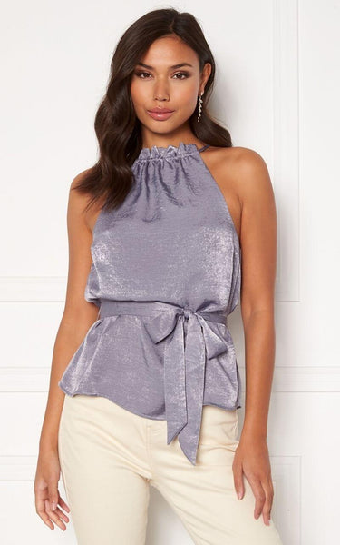 """The Perfect Dressy Top for Styling with White Jeans or Trousers this Summer.   This Top has a High Neckline that ties at the back with a Keyhole Detail.    It has a Belt that can be Draped or tied into a Bow or Knot.  Models Height is 5""""7 and wears a Size 36 (UK 8)"""