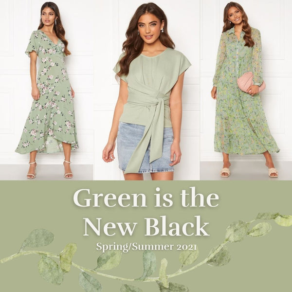 Green is the New Black - This is a collage of three Popular Green Clothing Items from our Spring?Summer Collection. The Therese Green Floral Print Midi Dress, the Tessa Tea Time Wrap Around Top and the Elsie Floral Printed Long Sleeved Tiered Maxi Dress
