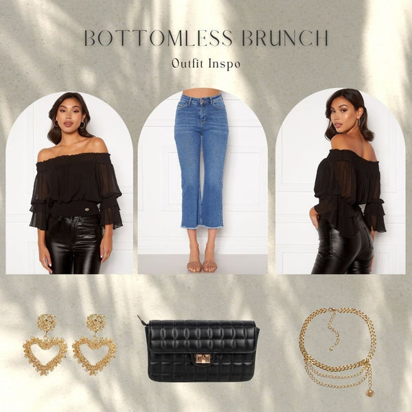 This is an outfit collage featuring our madia off the shoulder frill sleeve blouse in black, our kyla cropped kick flare jeans in medium blue denim, our Dolce Vita heart shaped gold earrings, our Faith Square Quilted chain strap bag in black and our triple drop gold chain belt