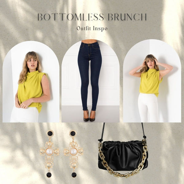 This is an outfit collage featuring our Danielle Gathered Sleeveless Draped blouse in lime, our Beverly Super Skinny Jeans in Midnight Blue Denim, our Cross Shaped Earrings and the Donna Chain Strap Handbag