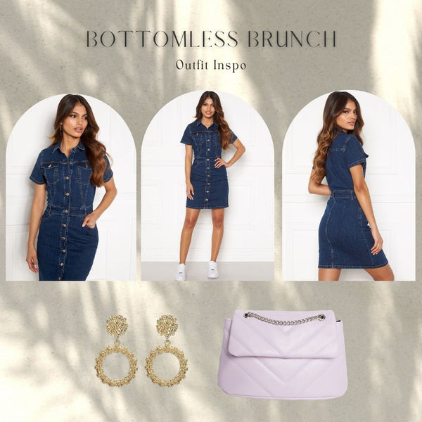 This is an Outfit Idea Collage featuring our Odina Denim Mini Dress, Our New Khloe Handbag in Lilac and our Gold Hoop Earrings