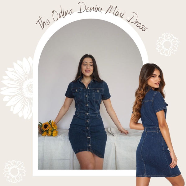 This Denim Dress is Figure Hugging and is made from a Stretchy Woven Fabric.   It has T-Shirt Length Sleeves and Silver Buttons closures the whole way up the front. It has functional Belt Loops & three pockets.  This is a great dress for Daywear because it's comfortable and works well with Flat White Runners, It can also be dressed up with Sandal Heels.