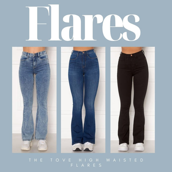 This is an Image of our Tove Jeans in Light Blue Denim, Medium Blue and Black. Introducing a new fit for Spring/Summer, The Tove Jeans are High Waisted and Flare at the bottom.  They have a Skinny Fit from the Waist Down to the Knee and are still Super Flattering on the thighs and Bum area.  They are Super Stretchy making them Comfortable to wear and are ideal for giving your legs a longer more slim look.  Since the jeans are super stretchy, they look smaller than they are. Select your regular size, but if you are between two sizes, please select the larger size.
