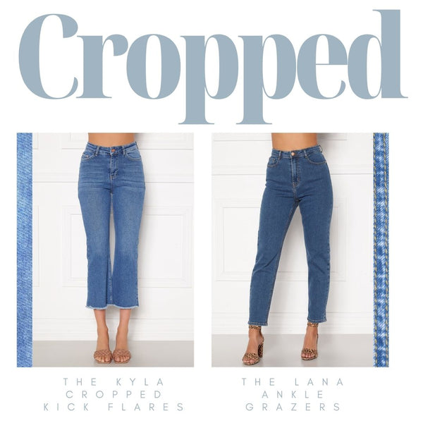 This is an Image of the Kyla Kick Flare Jeans and the Lana Cropped Jeans.