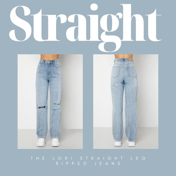 This is an Image of the Lori High Waist Straight Leg Ripped Jeans in Light Denim. These Straight Leg Jeans are Fitted on the Waist & Bum and have a Straight Leg Silhouette.  They are Super Casual & Easy to Wear with a Belt and a plain T-shirt or Printed Crop Top.  They are made of a Woven, Non Stretch Fabric.  They have Functional Belt Loops and Front & Back Pockets and a Ripped Detail at the Knees.