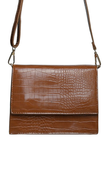 The Indie Handbag has a Croc Effect all over.  It has a Removable, Adjustable Shoulder Strap.  It has a Magnetic Clip Closure on the outer flap and a Zip Closure on the inside.  Available in Black & Brown
