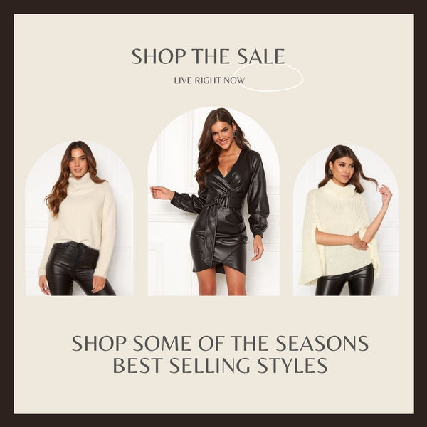 This is an image of the Ariana Cropped Fluffy Polo Neck Jumper, The Sylvia Faux Leather Black Mini Dress and the Annabelle Cream Knitted Poncho
