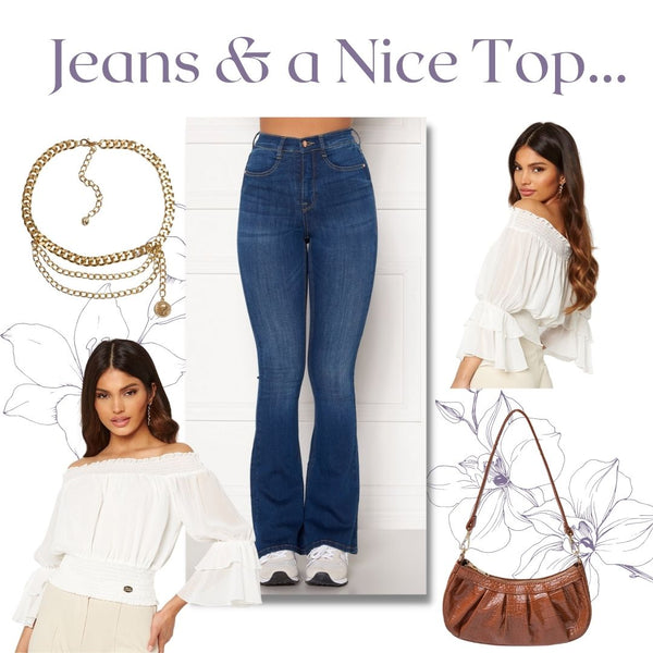 This is an outfit collage featuring our tove high waisted flared jeans in medium blue, our Madia Smocked Blouse in White, our emily handbag in brown and our triple dot chain strap belt