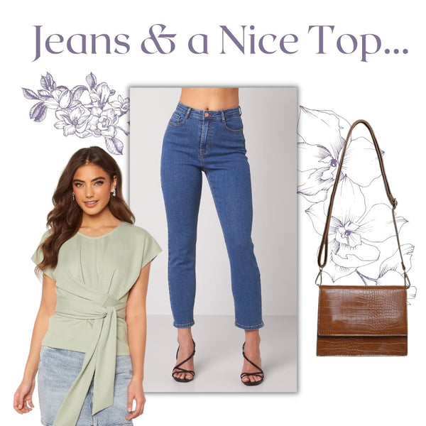 This is an outfit collage featuring our Lana Cropped jeans, our tessa tea time wrap around top and our Indie handbag in brown