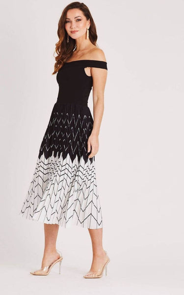 This is an image of the Keira A-Line Dress with Pleated Black and White Skirt